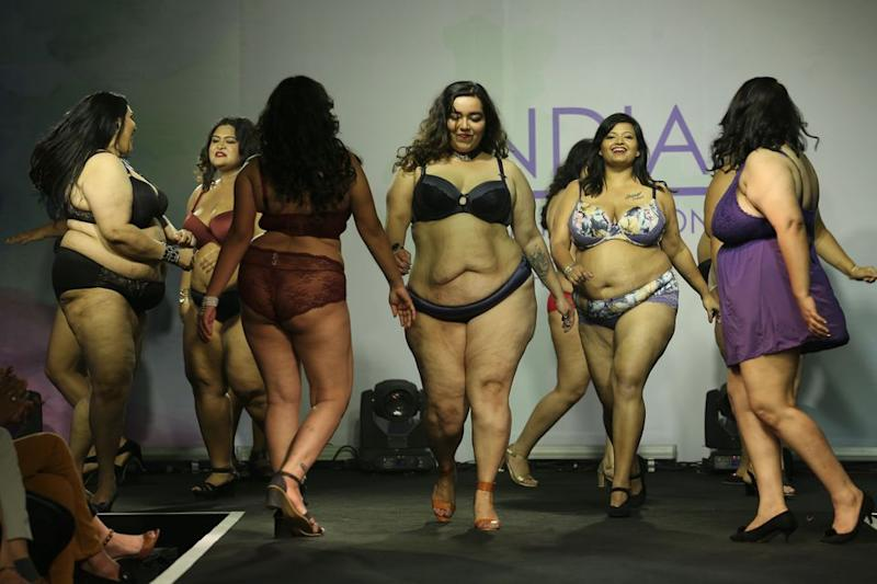 MUMBAI, INDIA - FEBRUARY 23: Models walk the runway during the Parfait Lingerie plus size fashion show at JW Marriott on February 23, 2019 in Mumbai, India. (Photo by Chirag Wakaskar/Getty Images)