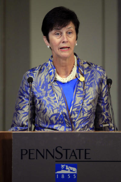 Penn State Trustees Chairwoman Karen Peetz answers a question during a public question and answer session during a meeting of the Penn State Board of Trustees in State College, Pa., Friday, Sept. 14, 2012. (AP Photo/Gene J. Puskar)