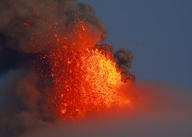 The Mayon volcano spews lava in the Philippines