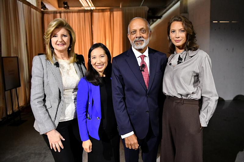 (L-R) Arianna Huffington, Dr. Leana Wen, Dr. Naveen Rao and Christy Turlington Burns pose backstage during the TIME 100 Health Summit at Pier 17 in New York City on Oct. 17, 2019. | Craig Barritt—Getty Images for TIME 100 Health