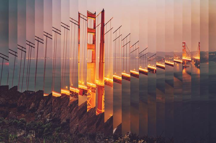Surreal rearranged strips picture of the Golden Gate bridge at dusk with cool effect.