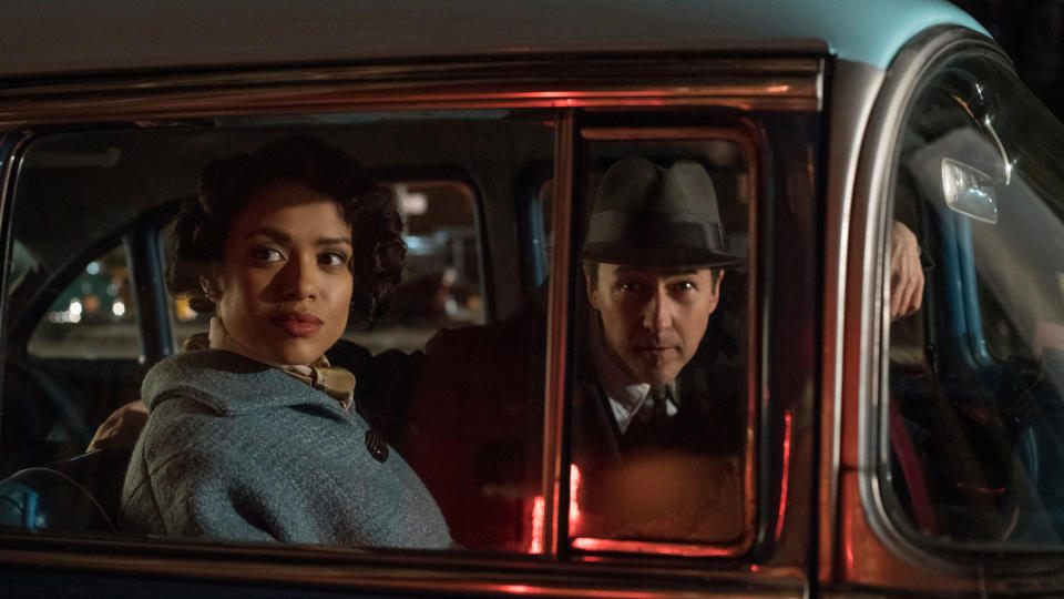 Gugu Mbatha-Raw and Edward Norton in 'Motherless Brooklyn'. (Credit: Glen Wilson/Warner Bros)