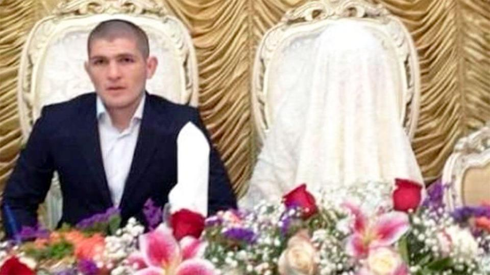 Conor McGregor dragged Khabib Nurmagomedov's wife, pictured here on their wedding day, into their war of words. Pic: Twitter