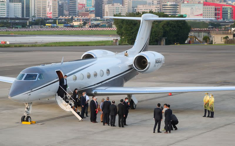 U.S. Undersecretary for Economic Affairs Keith Krach arrives at an airport in Taipei