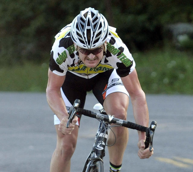 FILE - In this July 30, 2010, file photo Floyd Landis sprints to the finish line after racing a 2.3-mile time trial section during the Tour of the Catskills cycling race in Tannersville, N.Y. Landis is using money he earned by taking down Lance Armstrong to start his own cycling team. The man whose own doping saga cost him the 2006 Tour de France title and eventually helped expose Armstrongs cheating says hes building a developmental team for 2019 that will be based out of Canada. (AP Photo/Hans Pennink, File)