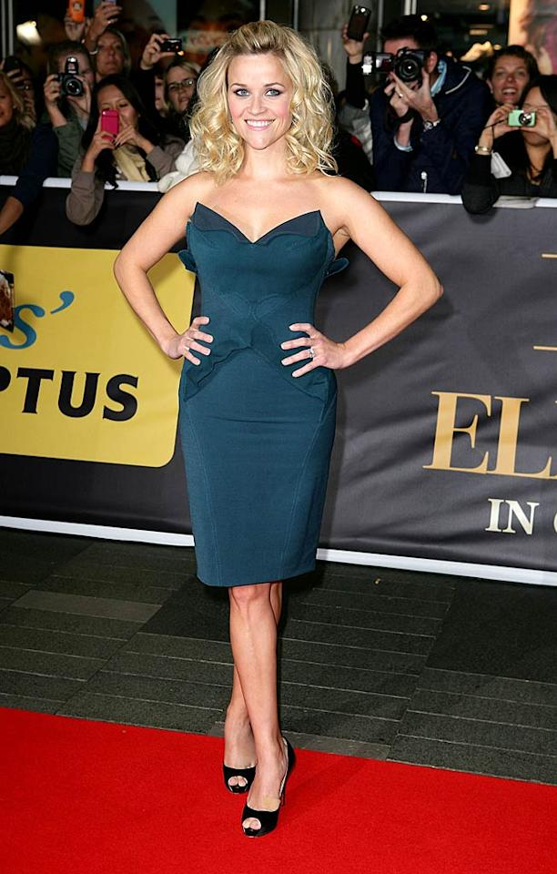 """Reese Witherspoon looked exceptionally sassy at the Sydney premiere of """"Water for Elephants"""" in a suede Zac Posen dress, black Christian Louboutin peep-toes, and big bouncy hair. Are you getting a vixen vibe from her? We are, and we love it! Don Arnold/<a href=""""http://www.wireimage.com"""" target=""""new"""">WireImage.com</a> - May 6, 2011"""
