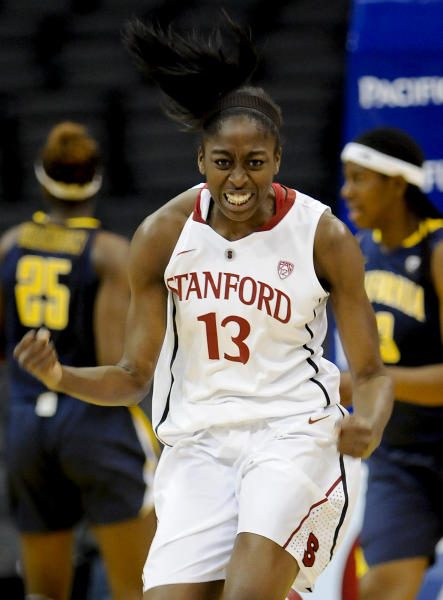 Stanford forward Nnemkadi Ogwumike reacts during the first half of the NCAA college finals Pac-12 Conference tournament basketball game against California, Saturday, March 10, 2012, in Los Angeles. (AP Photo/Gus Ruelas)