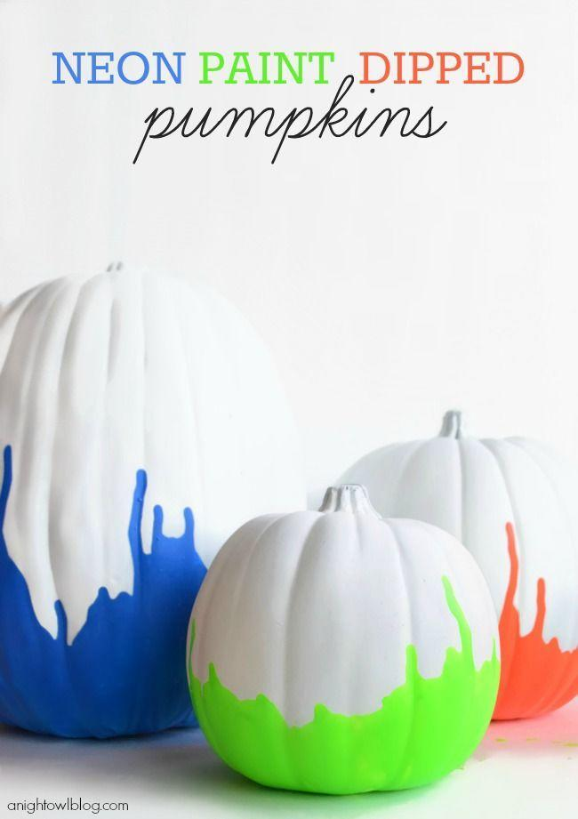 """<p>Brighten the room with neon pumpkins. Dip the bottoms in paint and turn upside down until the desired drip is reached.</p><p><em><strong>Get the tutorial from <a href=""""http://www.anightowlblog.com/2013/09/neon-paint-dipped-pumpkins.html/"""" rel=""""nofollow noopener"""" target=""""_blank"""" data-ylk=""""slk:A Night Owl"""" class=""""link rapid-noclick-resp"""">A Night Owl</a>.</strong></em><br></p>"""