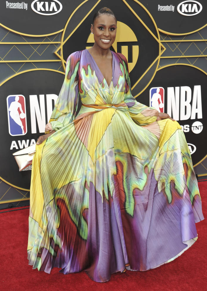 FILE - Issa Rae arrives at the NBA Awards on June 24, 2019, in Santa Monica, Calif. Rae turns 36 on Jan. 12. (Photo by Richard Shotwell/Invision/AP)