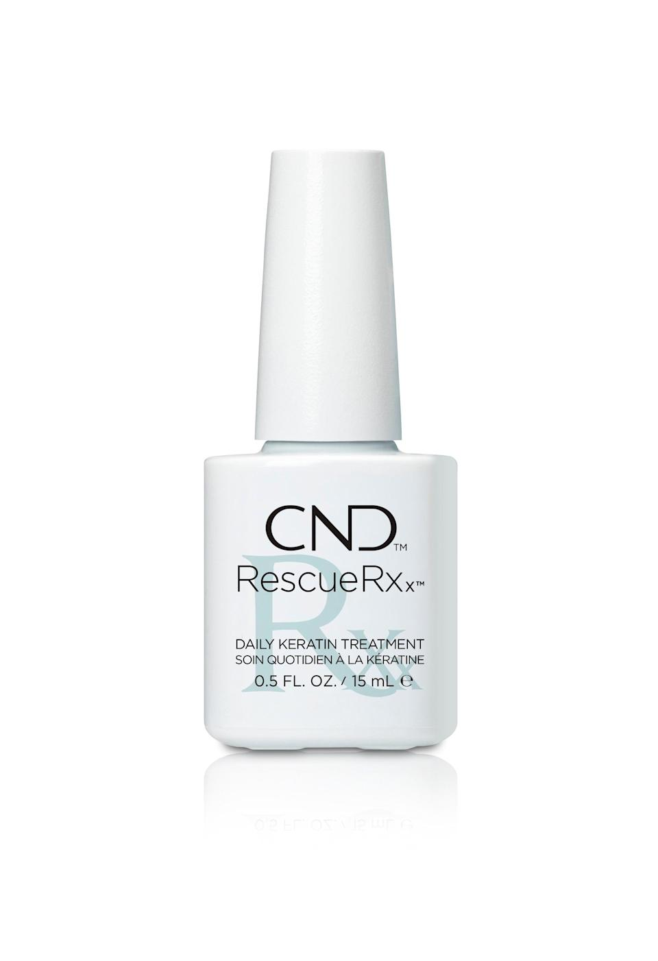 """<h3>CND RESCUERXx<br></h3><br>This professional nail treatment from CND uses the power of keratin proteins and moisturizing jojoba oil to magically lift those pesky <a href=""""https://www.medicalnewstoday.com/articles/317493.php"""" rel=""""nofollow noopener"""" target=""""_blank"""" data-ylk=""""slk:white speckle bruises"""" class=""""link rapid-noclick-resp"""">white speckle bruises</a> from your nails.<br><br><strong>CND</strong> Rescue RXx, $, available at <a href=""""https://go.skimresources.com/?id=30283X879131&url=https%3A%2F%2Fwww.ulta.com%2Frescuerxx%3FproductId%3DxlsImpprod13561073"""" rel=""""nofollow noopener"""" target=""""_blank"""" data-ylk=""""slk:Ulta Beauty"""" class=""""link rapid-noclick-resp"""">Ulta Beauty</a>"""