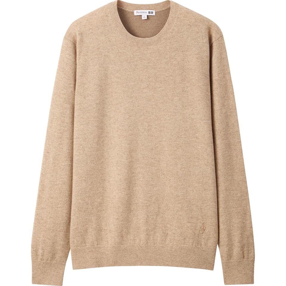 """<p>uniqlo.com</p><p><strong>$129.90</strong></p><p><a href=""""https://go.redirectingat.com?id=74968X1596630&url=https%3A%2F%2Fwww.uniqlo.com%2Fus%2Fen%2Fmen-cashmere-crew-neck-long-sleeve-sweater-jw-anderson-432325.html&sref=https%3A%2F%2Fwww.esquire.com%2Fstyle%2Fmens-fashion%2Fg34384963%2Funiqlo-jw-anderson-fall-winter-2020-collection%2F"""" rel=""""nofollow noopener"""" target=""""_blank"""" data-ylk=""""slk:Shop Now"""" class=""""link rapid-noclick-resp"""">Shop Now</a></p>"""