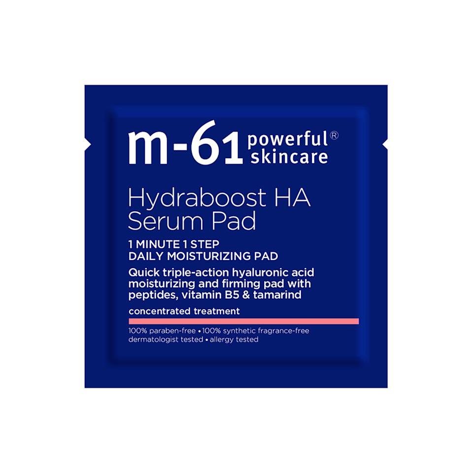 """<p>""""For an extra kick of hydration, the M-61 Hydraboost HA Serum Pad is a must-have in your carry-on. If you're doing your skin-care routine while traveling — be it by train, car, or plane — grab one of these pads full of moisturizing hyaluronic acid, and swipe on after cleansing your face."""" — <em>Michelle Lee, editor in chief</em></p> <p><strong>$36 for 10 treatments</strong> (<a href=""""https://www.amazon.com/M-61-Hydraboost-HA-Serum-Pad/dp/B07HFL3WYS?th=1"""" rel=""""nofollow"""">Shop Now</a>)</p>"""