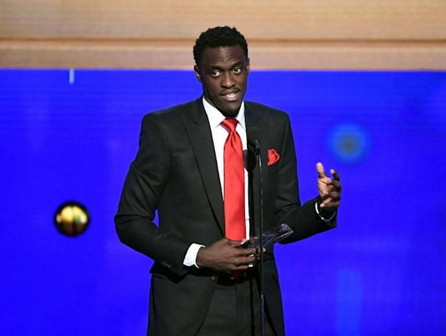 Cameroon standout Pascal Siakam of the NBA champion Toronto Raptors, shown accepting the 2019 NBA Most Improved Player Award, is among the players discovered through league outreach programs such as the NBA Academy Games coming to Atlanta in July (AFP Photo/KEVIN WINTER)