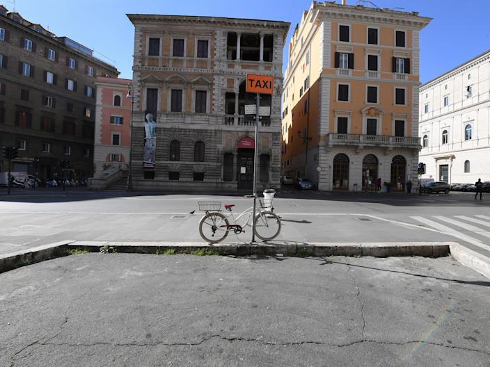 An empty street in Rome, Italy.