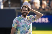 FILE - Reilly Opelka reacts after defeating Stefanos Tsitsipas, of Greece, to reach the final of the men's National Bank Open tennis tournament in Toronto, in this Saturday, Aug. 14, 2021, file photo. Opelka is seeded for the U.S. Open, the year's last Grand Slam tennis tournament. Play in the main draw begins in New York on Monday, Aug. 30. (Chris Young/The Canadian Press via AP, File)