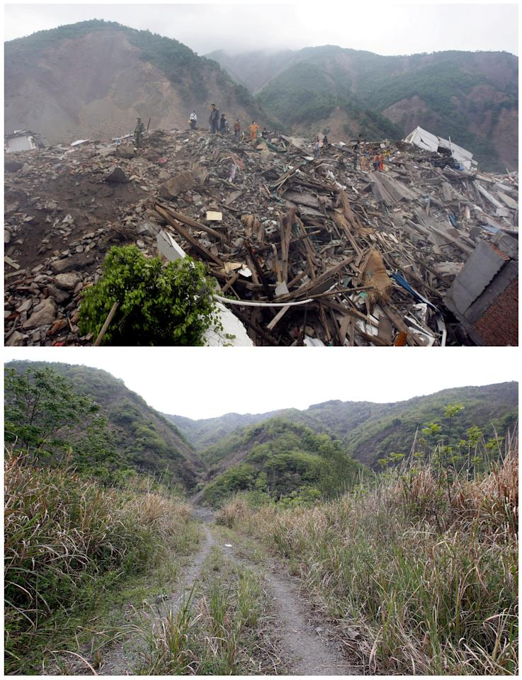"A combination picture shows rescue workers and local residents looking for survivors in the ruins of destroyed old city district near a mountain three days after the 2008 Sichuan earthquake, May 15, 2008 (top), and the same view ahead of the tenth anniversary of the earthquake, in Beichuan county, Sichuan province, China, April 6, 2018. REUTERS/Jason Lee  SEARCH ""BEICHUAN ANNIVERSARY"" FOR THIS STORY. SEARCH ""WIDER IMAGE"" FOR ALL STORIES."
