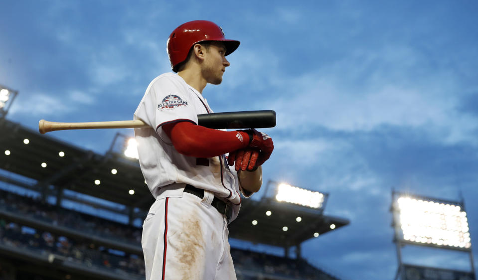 "<a class=""link rapid-noclick-resp"" href=""/mlb/players/10056/"" data-ylk=""slk:Trea Turner"">Trea Turner</a>'s speed makes him a top-of-the-line fantasy shortstop. (AP Photo/Alex Brandon, File)"