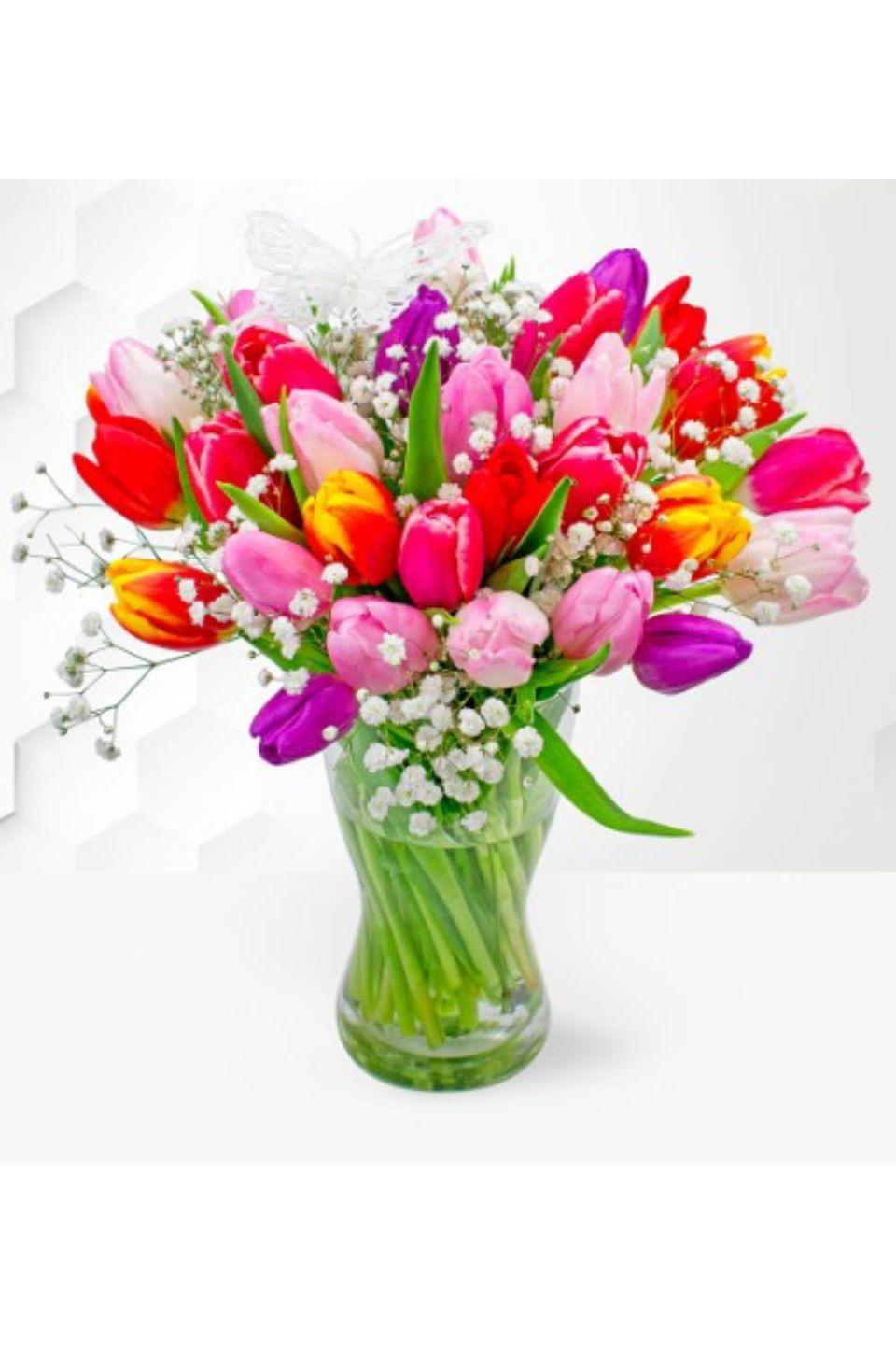 """<p><strong><a class=""""link rapid-noclick-resp"""" href=""""https://www.prestigeflowers.co.uk/next-day-flowers/spring-supreme?cPath=19"""" rel=""""nofollow noopener"""" target=""""_blank"""" data-ylk=""""slk:BUY NOW"""">BUY NOW</a> Tulip Supreme £19.99,</strong> <strong>Prestige Flowers</strong></p><p>Thanks to their network of florists all over the UK, Prestige Flowers can deliver on the day to anywhere in the country, providing you order by 3pm. They have bouquets for every occasion, from anniversaries, congratulations or to give sympathy, ranging from £29.99 to £99.99.</p>"""