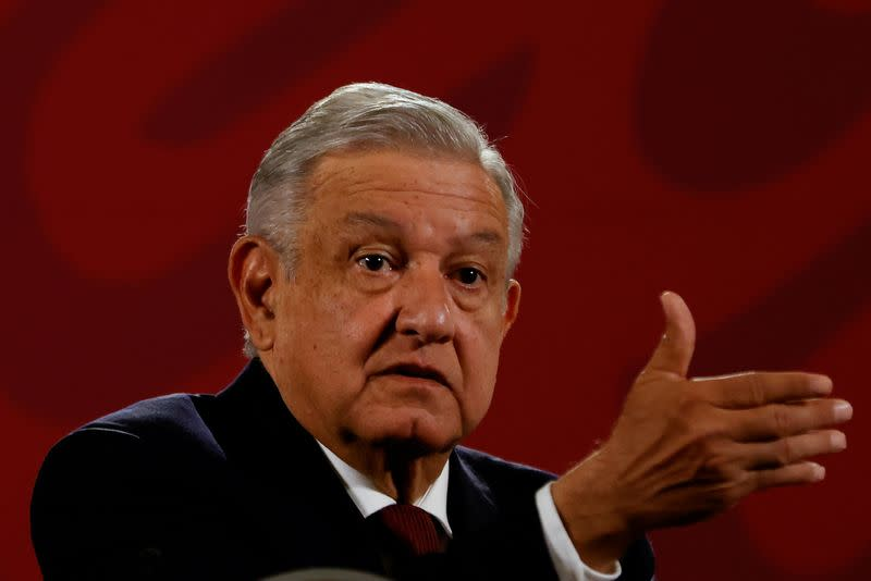 FILE PHOTO: Mexico's President Andres Manuel Lopez Obrador gestures during a news conference at National Palace in downtown Mexico City