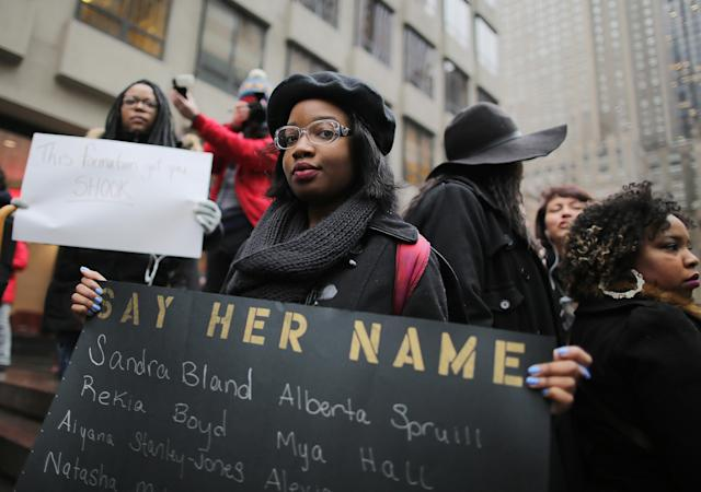 Another attendee of the so-called anti-Beyoncé rally. (Photo: Jemal Countess/Getty Images)