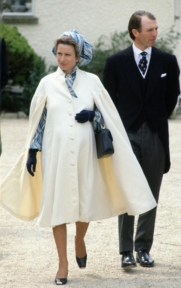 <p>In May 1981, Princess Anne and her then-husband Mark Phillips attended a close friend's wedding. For the outing, Princess Anne dressed her bump in a Pinterest-worthy cape coat and '80's style headscarf. She was expecting daughter Zara Tindall at the time. <em>[Photo: Getty]</em> </p>