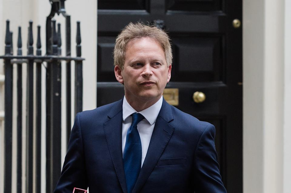 LONDON, UNITED KINGDOM - JUNE 14, 2021: Secretary of State for Transport Grant Shapps leaves Downing Street on June 14, 2021 in London, England. British Prime Minister Boris Johnson expected to announce today a delay of up to four weeks to lifting of Englands Covid-19 restrictions in an effort to tackle the rise of infections caused by the Delta variant of the coronavirus, which now accounts for more than 90% of new cases in the UK. (Photo credit should read Wiktor Szymanowicz/Barcroft Media via Getty Images)