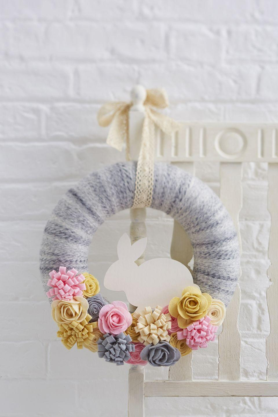 """<p>Use felt to make the soft, colorful flowers on this wreath and hang it with a piece of vintage lace.</p><p><strong>Get the tutorial at <a href=""""http://bit.ly/2lnRWvl"""" rel=""""nofollow noopener"""" target=""""_blank"""" data-ylk=""""slk:Hobbycraft"""" class=""""link rapid-noclick-resp"""">Hobbycraft</a>. </strong></p><p><strong><a class=""""link rapid-noclick-resp"""" href=""""https://www.amazon.com/Misscrafts-Squares-Patchwork-Scrapbooking-Quilting/dp/B01MS22AJV?tag=syn-yahoo-20&ascsubtag=%5Bartid%7C10050.g.4088%5Bsrc%7Cyahoo-us"""" rel=""""nofollow noopener"""" target=""""_blank"""" data-ylk=""""slk:SHOP FELT AND FABRIC"""">SHOP FELT AND FABRIC</a></strong> </p>"""