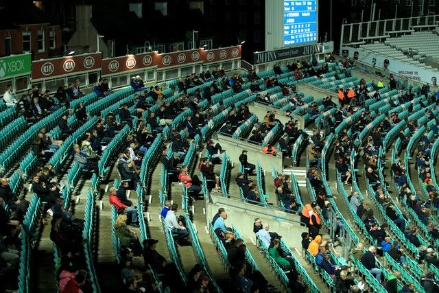 Fans attended the Surrey v Hampshire match last month on a socially-distanced basis