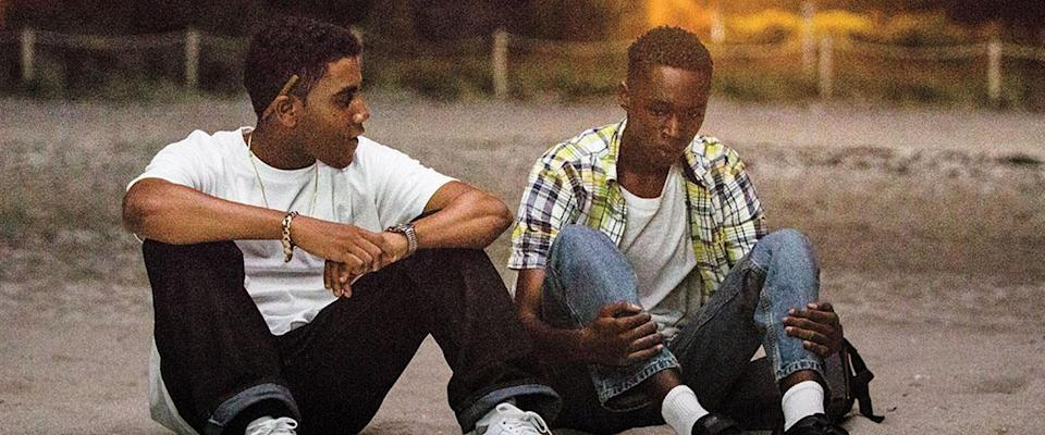 Jharrel Jerome as Kevin and Ashton Sanders as Chiron in 'Moonlight'. (Credit: A24)