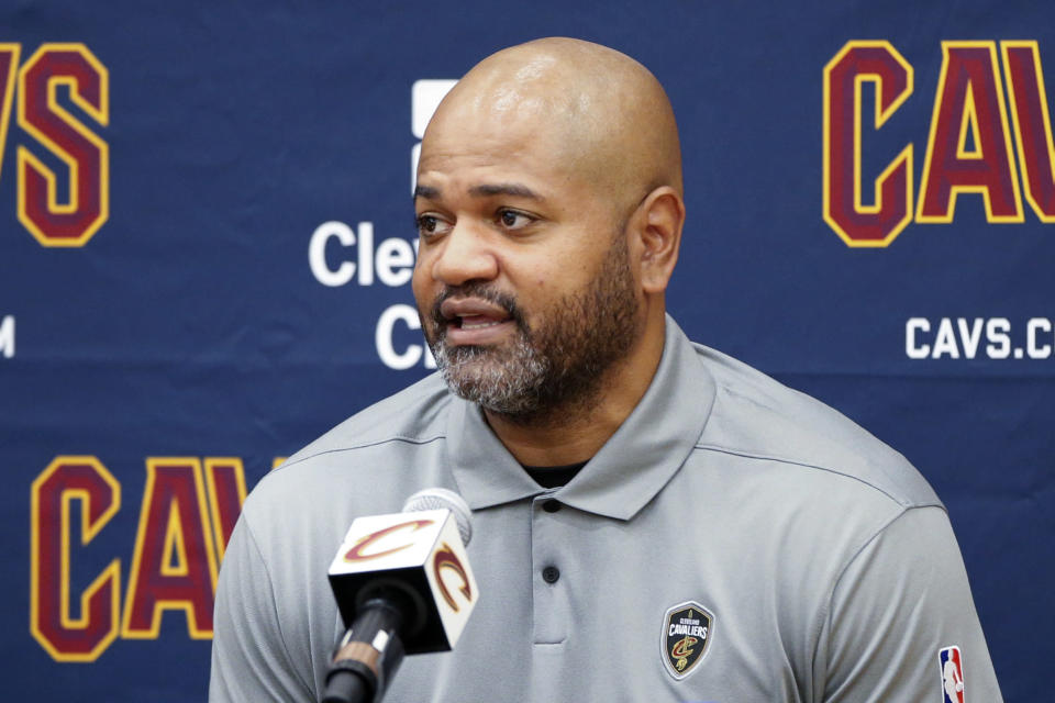 Cleveland Cavaliers head coach JB Bickerstaff is interviewed during the NBA basketball team's media day, Monday, Sept. 27, 2021, in Independence, Ohio. (AP Photo/Ron Schwane)