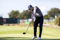 Zach Johnson hits off of the 16th tee during third round of the RSM Classic golf tournament, Saturday, Nov. 21, 2020, in St. Simons Island, Ga. (AP Photo/Stephen B. Morton)