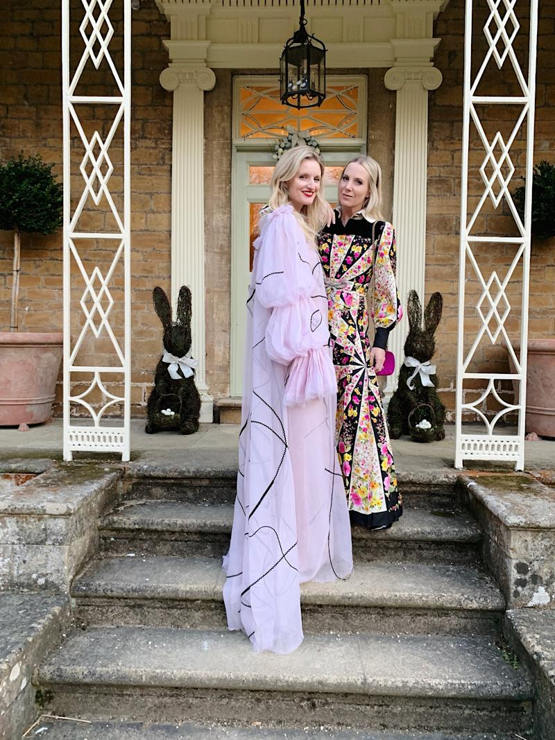 Ball dresses and bunnies: Candice in Roksanda and me in floral Gucci.