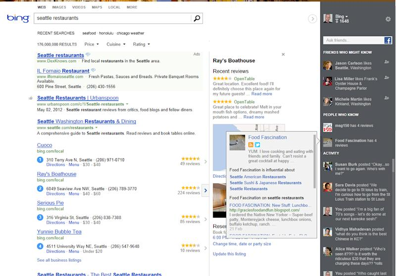 """A screen shot provided by Microsoft shows changes to Bing's website, unveiled Thursday, May 10, 2012 that will reshape how Bing displays its search results. It represents Microsoft's most dramatic shift in Internet search since the software maker introduced Bing as a """"decision engine"""" nearly three years ago. The revised system presents Bing's results in three panes. The left column will feature the familiar blue links drawn from Bing's formula for finding the most relevant results. The middle section, called """"Snapshot,"""" is reserved for completing tasks, such as getting directions, making a hotel reservation or buying movie tickets. Although it's located on the right side of the revised results page, the """"Sidebar"""" column is the centerpiece of the new Bing. Sidebar is where Bing users logged into Facebook will see recommendations culled from their Facebook network and enable them to ask questions of their online friends from the results page. The column also will highlight relevant tweets and suggest people that might be worth checking out on Twitter.  (AP Photo/Microsoft)"""