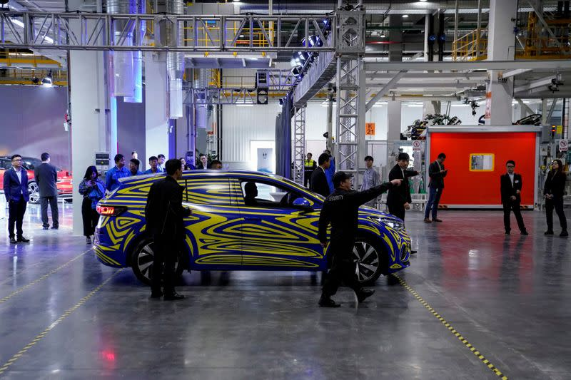FILE PHOTO: A Volkswagen electric ID car is seen during a construction completion event of SAIC Volkswagen MEB electric vehicle plant in Shanghai