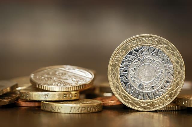 british coins over blurred...