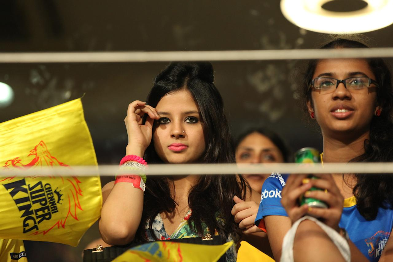 Sakshi Dhoni watches her husband's side - the Chennai Super Kings during their match against the Kolkata Knight Riders  at the Eden Gardens Stadium in Kolkata on the 20th April 2013. Photo by Saikat Das-IPL-SPORTZPICS