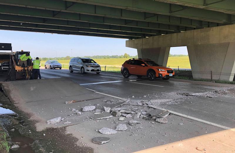 A portion of Interstate 229 buckles from high temperatures and heat indexes, July 19, 2019 in Sioux Falls, S.D. The temperature in Sioux Falls was 93 degrees with a heat index of 107 degrees when the buckle was reported Friday afternoon.