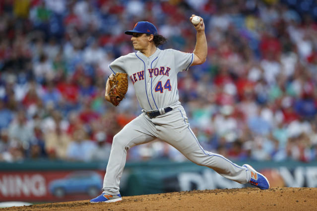"""<a class=""""link rapid-noclick-resp"""" href=""""/mlb/teams/ny-mets/"""" data-ylk=""""slk:Mets"""">Mets</a> broadcasters Gary Cohen and Keith Hernandez took <a class=""""link rapid-noclick-resp"""" href=""""/mlb/players/7599/"""" data-ylk=""""slk:Jason Vargas"""">Jason Vargas</a> to task on the air Wednesday during the Mets' loss to the <a class=""""link rapid-noclick-resp"""" href=""""/mlb/teams/philadelphia/"""" data-ylk=""""slk:Phillies"""">Phillies</a> for his lack of apology after he threatened a reporter last week. (AP/Matt Slocum)"""