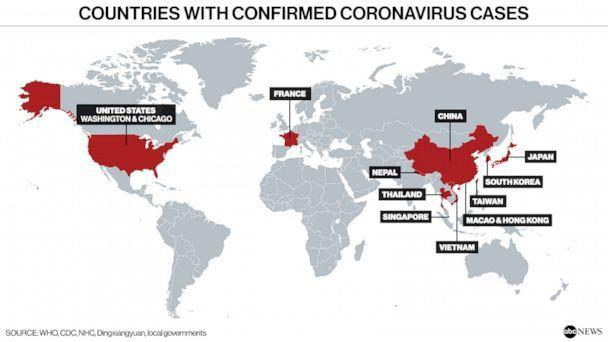 confirmed corona virus cases in us