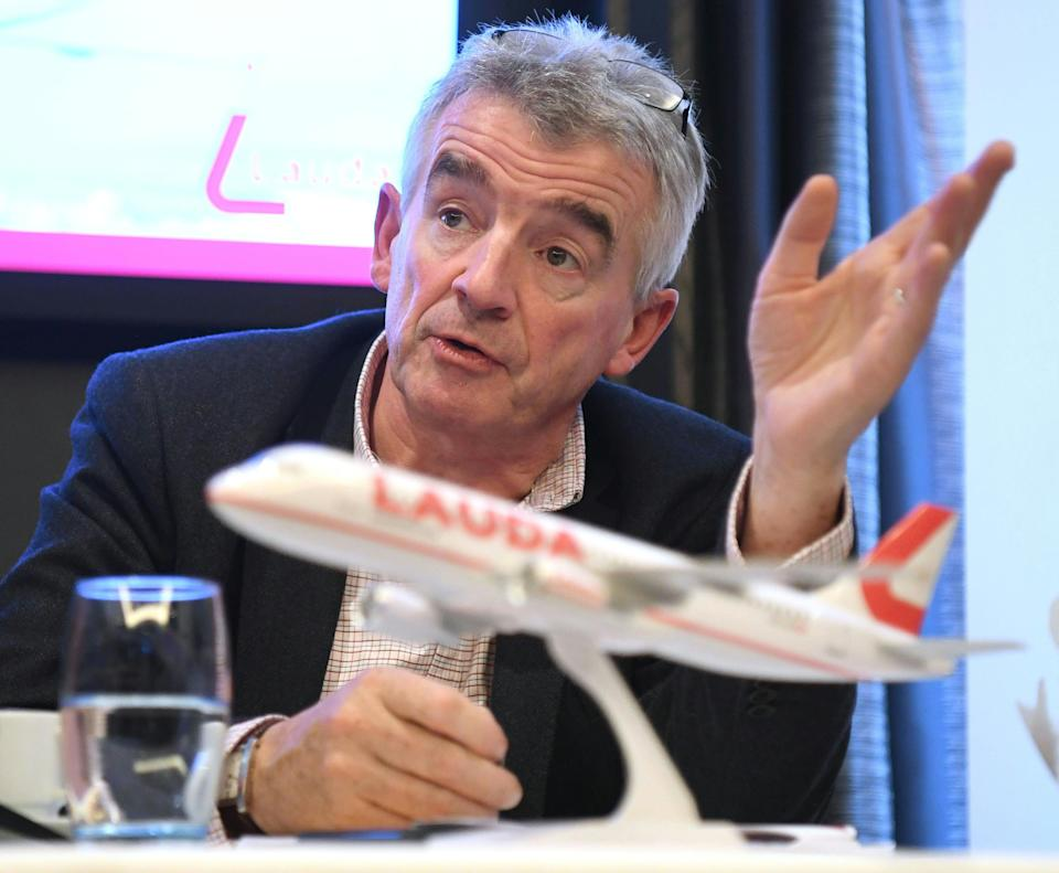 The CEO of Irish low-cost airline Ryanair Michael O'Leary gives a press conference with the Austrian low-cost airline Lauda to present among others new destinations from Austria, the summer flight plan 2020 and the extension of the fleet, on September 26, 2019 in Vienna. (Photo by HELMUT FOHRINGER / APA / AFP) / Austria OUT        (Photo credit should read HELMUT FOHRINGER/AFP via Getty Images)