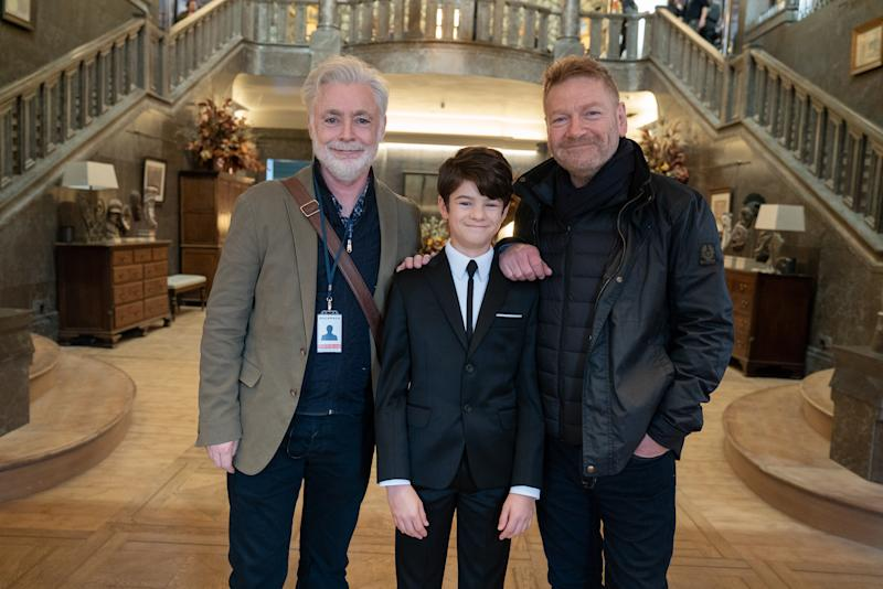 (L-R) Book author Eoin Colfer, Ferdia Shaw, director Kenneth Branagh on the set of Disney's ARTEMIS FOWL. Photo by Nicola Dove. © 2020 Disney Enterprises, Inc. All Rights Reserved.