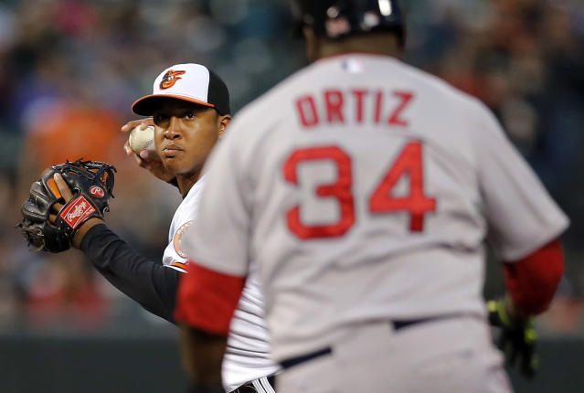 Baltimore Orioles second baseman Jonathan Schoop, left, throws to first base for a double play after forcing out Boston Red Sox's David Ortiz (34) on a ground ball hit by Mike Napoli in the first inning of a baseball game on Thursday, April 3, 2014, in Baltimore. (AP Photo/Patrick Semansky)