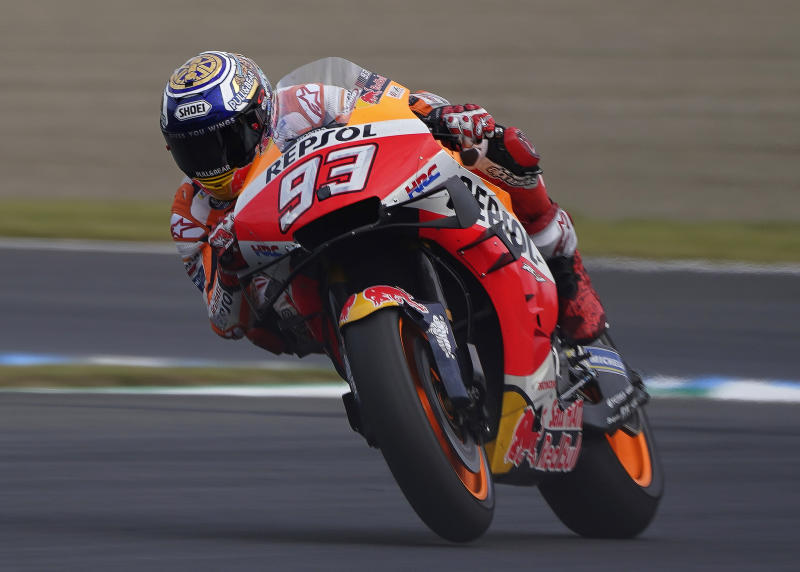 Spain's MotoGP rider Marc Marquez in action during the final round of the MotoGP Japanese Motorcycle Grand Prix at the Twin Ring Motegi circuit in Motegi, north of Tokyo, Sunday, Oct. 20, 2019. (AP Photo/Christopher Jue)