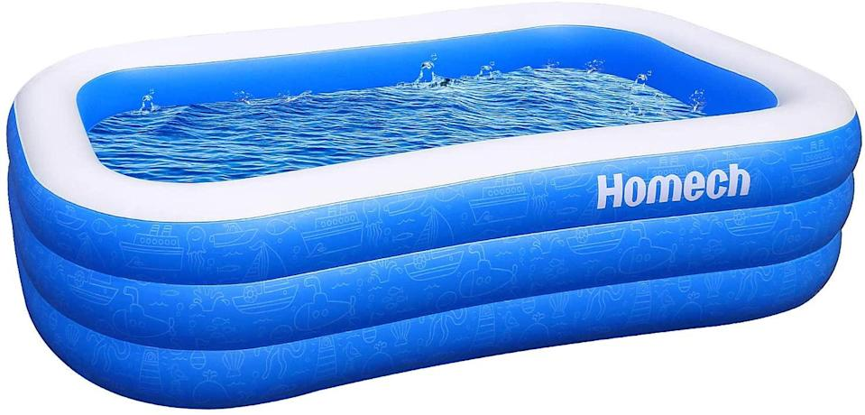 """<h2>Inflatable Swimming Pool</h2><br>At the height of summer quarantine, it was impossible to get your hands on an inflatable pool — seemingly everyone with a backyard was buying up these compact creature comforts in droves, making it a top-selling item of 2020. While it may not seem like the most seasonal purchase to make, we bet there's going to be a similar run on these vinyl lagoons next summer — better nab one now to ensure that you're the most popular kid in the neighborhood come June 2021 (and to ensure you score it at 15% off before they jack those prices up again).<br><br><strong>4.5 out of 5 stars, 8,018 reviews</strong><br><br><strong>homech</strong> Inflatable Swimming Pool, $, available at <a href=""""https://amzn.to/2It5pzB"""" rel=""""nofollow noopener"""" target=""""_blank"""" data-ylk=""""slk:Amazon"""" class=""""link rapid-noclick-resp"""">Amazon</a>"""