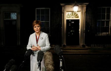 Scotland's First Minister Nicola Sturgeon speaks to journalists after her meeting with Britain's Prime Minister Theresa May at 10 Downing Street in London