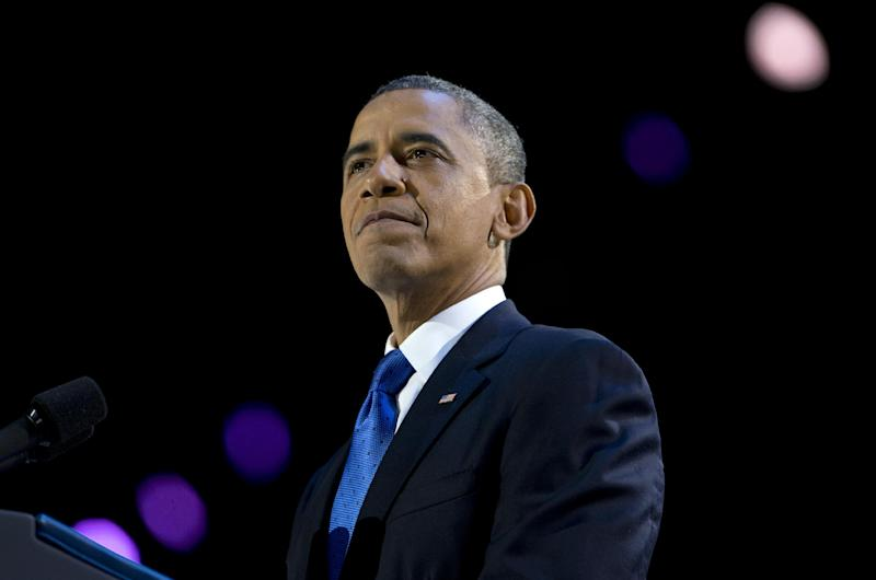 President Barack Obama pauses as he speaks at the election night party at McCormick Place, Wednesday, Nov. 7, 2012, in Chicago. Obama defeated Republican challenger former Massachusetts Gov. Mitt Romney. (AP Photo/Carolyn Kaster)