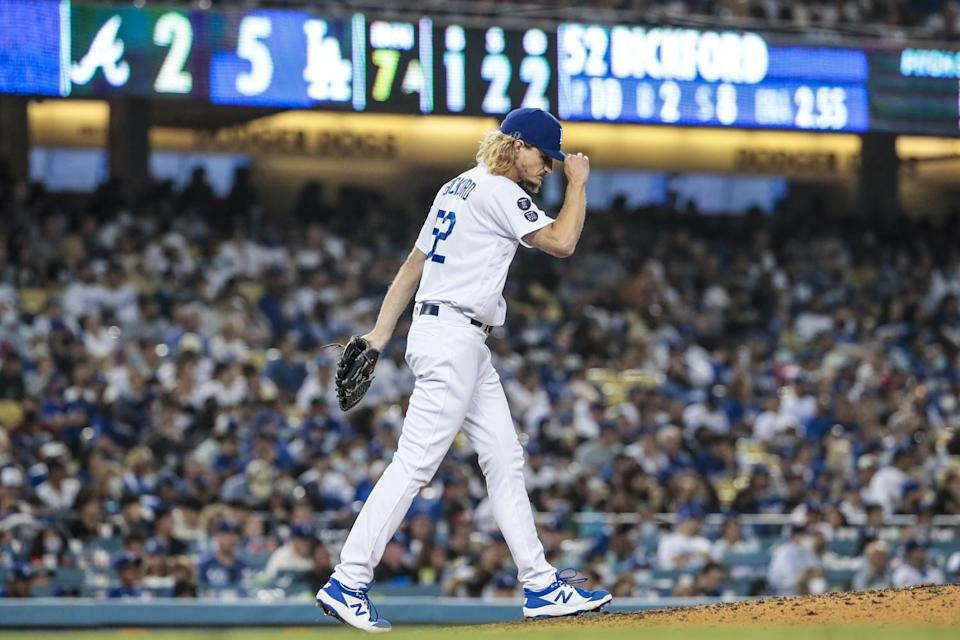 Dodgers pitcher Phil Bickford pitches the seventh inning against the Atlanta Braves.