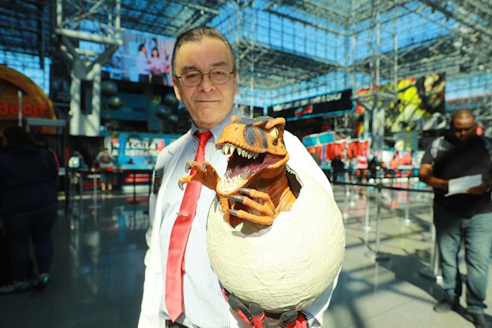 A cosplayer brings his Jurassic Park egg to the New York Comic Con 2019  at the Jacob Javits Center on Oct. 5, 2019 in New York City. (Photo: Gordon Donovan/Yahoo News)