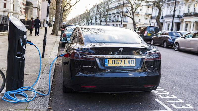 Tesla Model S recharging on the street in London