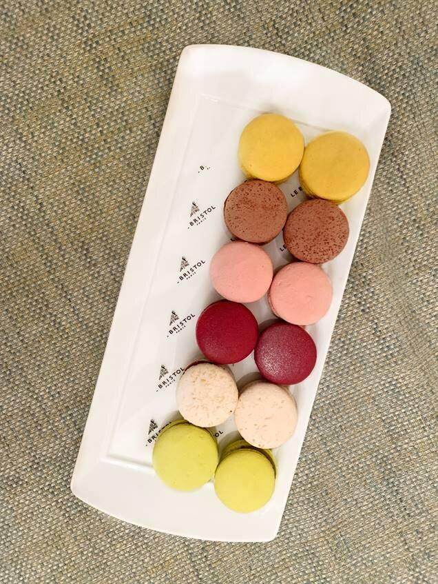"""<p>""""First thing on agenda: macaroons and (not pictured) copious amounts of caffeine.""""</p>"""